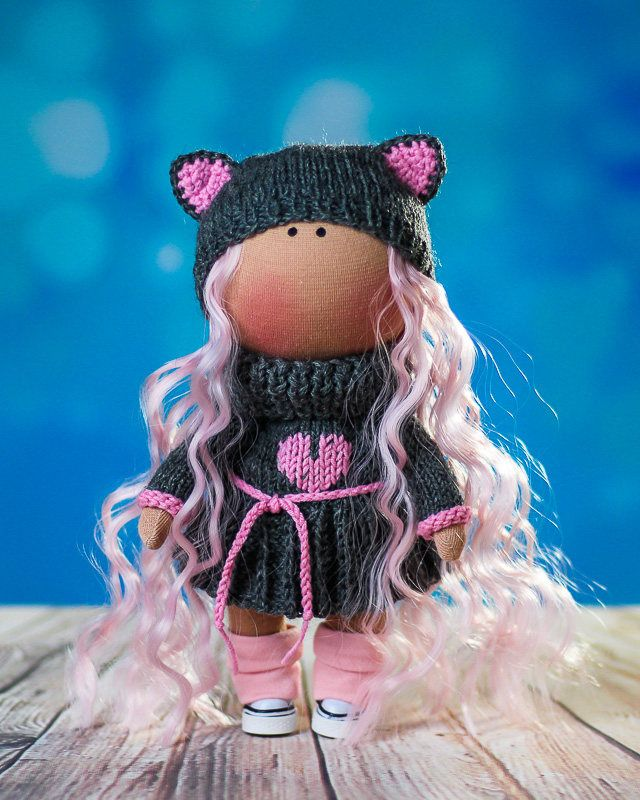Doll Agata. Tilda doll. Textile doll. Lovely girl. Сollection La Petite. Interior doll. Rag doll. Сute doll. Toy. Soft toy. Doll Cat. Kitten by OwlsUa on Etsy