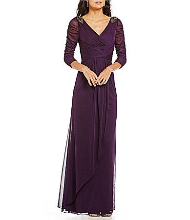 Adrianna Papell Beaded Faux Wrap Gown #Dillards