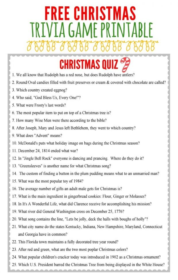 Kids Christmas Trivia Game Party Idea