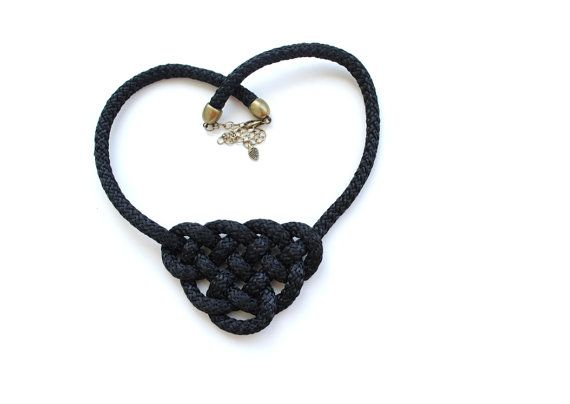 Big black knot necklace thick rope statement by elfinadesign