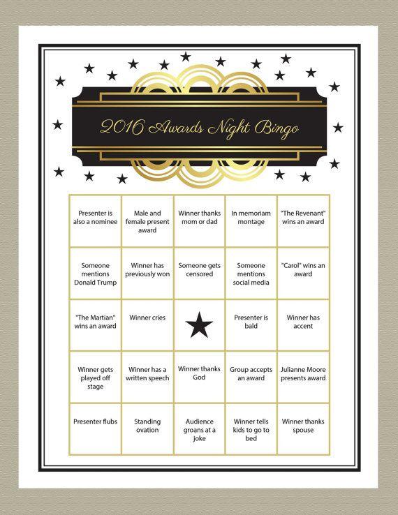 2016 Oscar Bingo Game Printable Gold Gradient by getpartychic