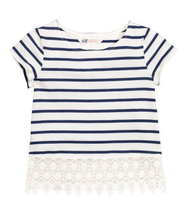 Top with Lace | Dark blue/striped | Kids | H&M US