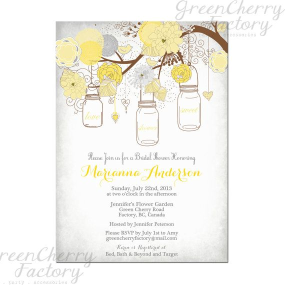 Best 10 yellow bridal showers ideas on pinterest for Yellow bridal shower invitations