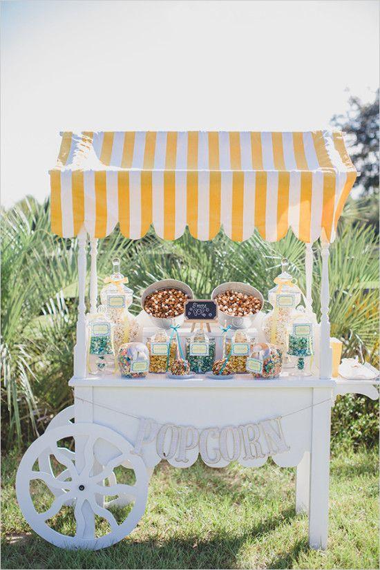 popcorn bar cart idea @weddingchicks #wedding #mybigday