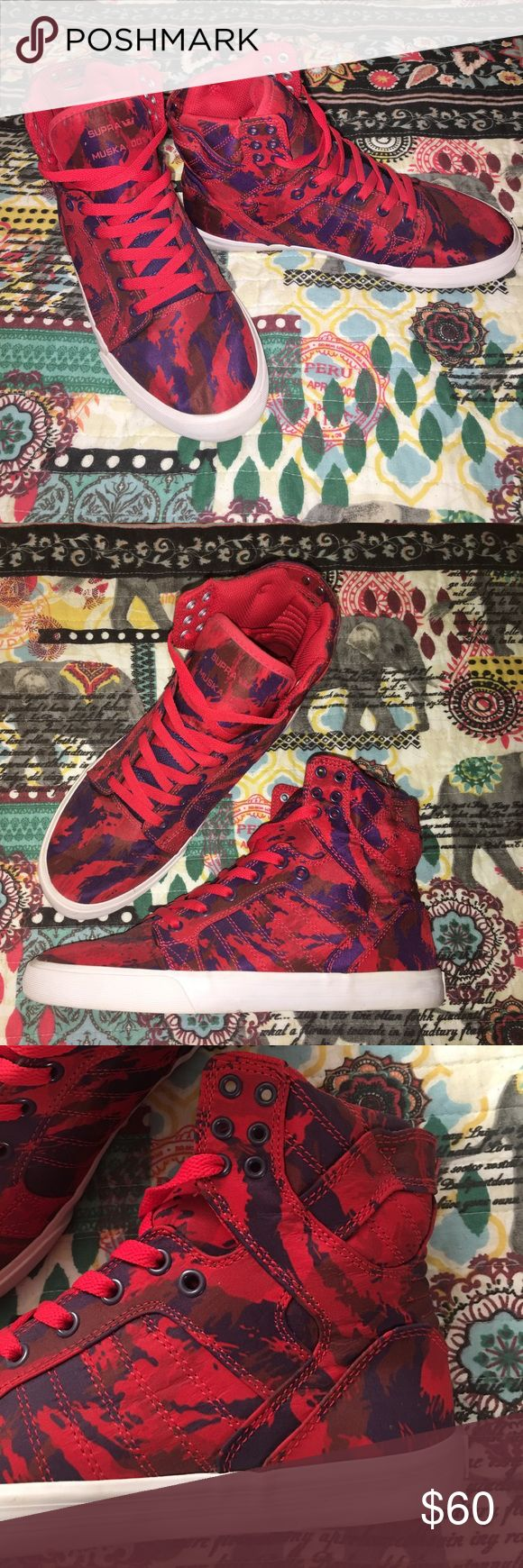 Supra Muska 001 Red Purple Camo Hi Top Sneaker Comfortable, worn once, bought years ago and never wore them again. Camo Pattern is red, purple, and maroon. These shoes are in fantastic condition and need a new home! Supra Shoes Sneakers