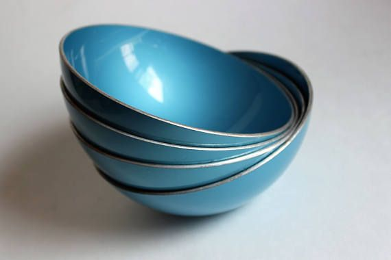 Vintage Emalox Norway bowls set of four in blue