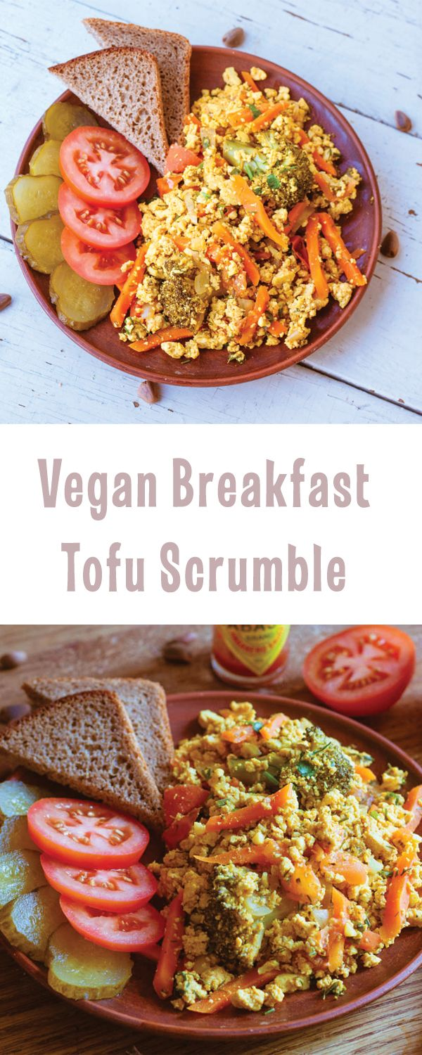 Tofu scrumble is a great option for healthy, nutritious and delicious #vegan breakfast! Use this recipe as a base and play around with spices and fillings, adding different vegetables, beans and mushrooms! | @vegelicacy
