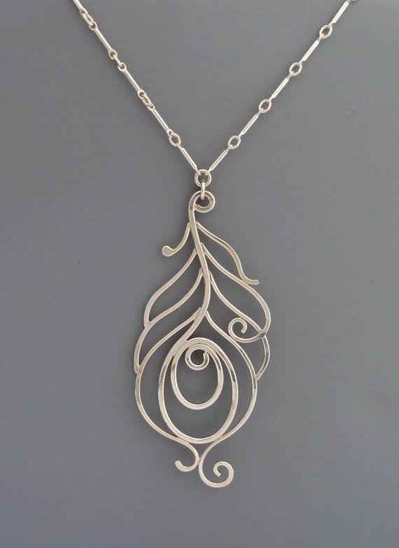 Sterling Silver Peacock Necklace, Rachel Wilder Handmade Jewelry