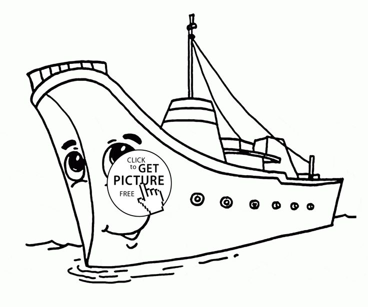 Cartoon Ship With Eyes Coloring Page For Kids Transportation Pages Printables Free