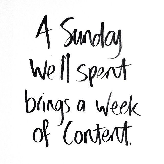 A Sunday well spent brings a week of content. See more Gap-isms.