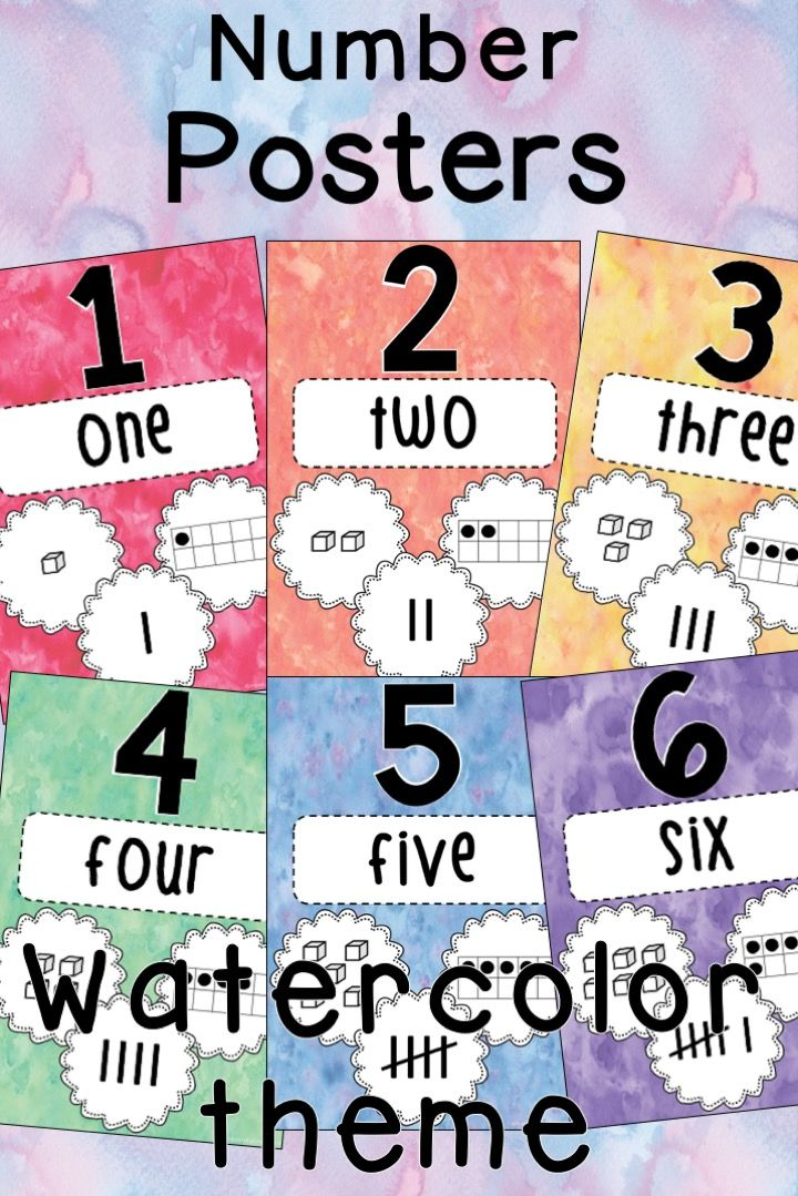 Number Posters 1 50 Watercolor Theme Number Poster Teaching Mathematics Teaching