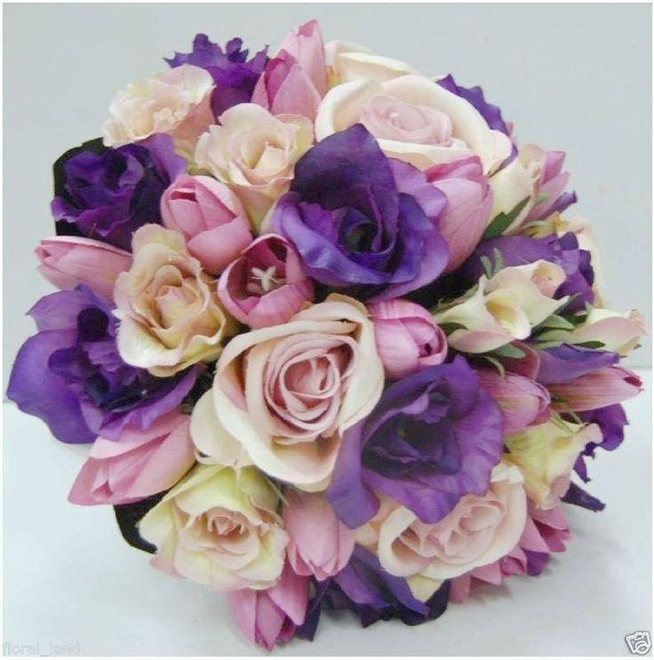 Wedding flower silk pink rose purple lisianthus tulip mauve bridal bouquet posy