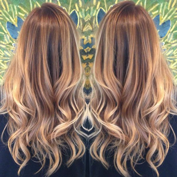 Brown ombre & balayage hairstyle with blonde highlight, trend of 2015