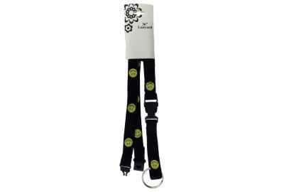 Lanyard with detachable split-ring key chain with smiley face icons