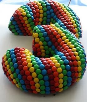 Smarties cake made from two half bunt cakes.