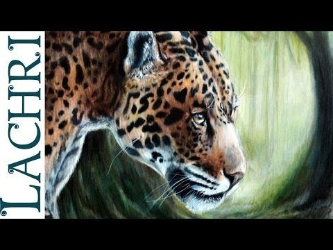 ▶ How to blend colored pencils with paint thinner - Leopard / Jaguar full tutorial painting by Lachri - YouTube