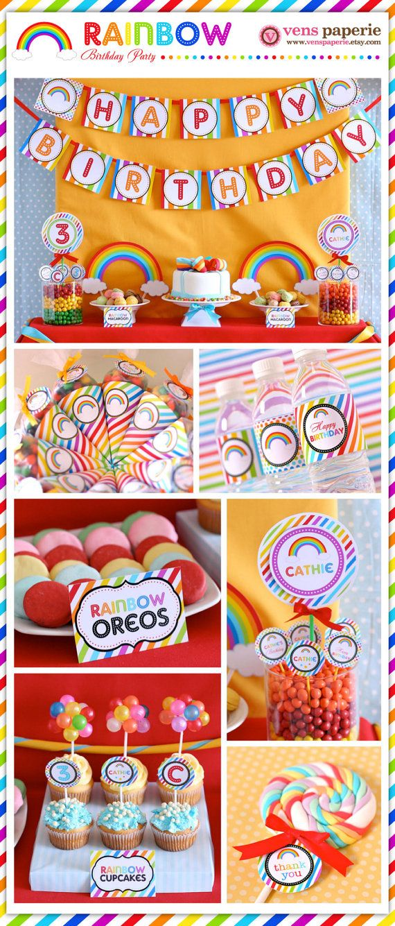 rainbow party , DIY printable decoration by http://www.etsy.com/shop/venspaperie