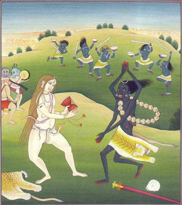 Kali dances as Shiva provides the drum accompaniment