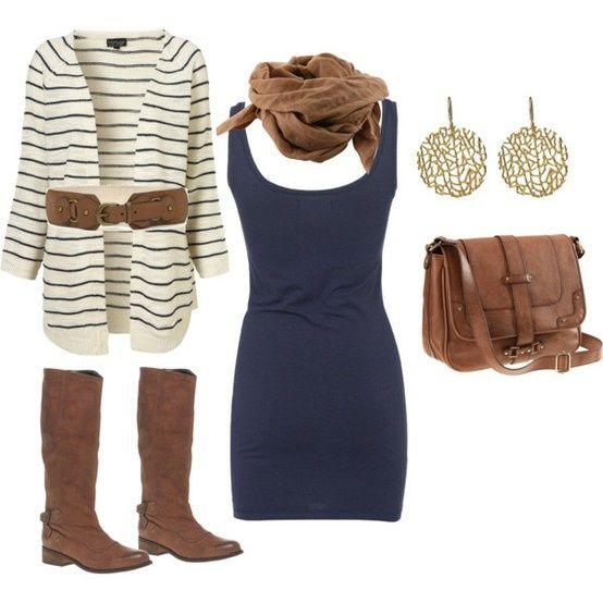 Cardigan. Dress. Boots