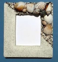 How to Make a Sea Shell Picture Frame. Ideas for my bathroom as I live by the sea =]