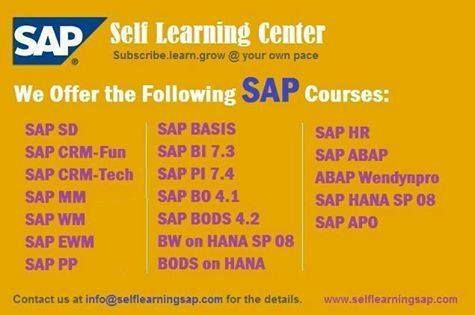 SAP SELF Learning Video's Available at http://www.selflearningsap.com/  We have the training solutions for the modules like SAP SD, CRM, QM, FIORI , BPC10 , HANA S4 simple finance,  MM ,  ABAP,  FICO,  APO, WM,  EWM , BO 4.1 , BI 7.3, PI 7.4,PP, HR/HSM , BASIS  HANA ,  ABAP Webdynpro & OOPs.