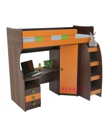 UFOkids 80x200 см с рабочим местом и шкафом Оранси  — 27610р. -- Кровать-чердак 80x200 см с рабочим местом и шкафом Оранси UFOkids для комнаты дошкольника и школьника. Ложе находится наверху, под ним расположен стол и шкаф.