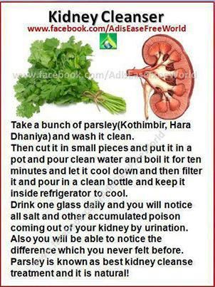 Parsley water - Kidney Cleanse.  I had to find the recipe Katy told me about!! Here it was on Pinterest! Of coarse, where else!lol