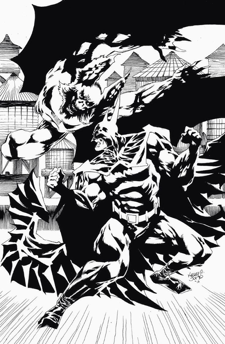 Batman and man bat kelley jones black and white