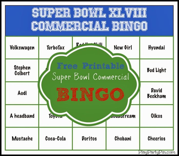 Free printable Super Bowl Commercial Bingo Cards that would be perfect for the big game #RubbermaidSharpie #PMedia