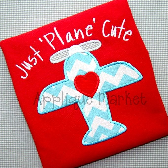 Machine Embroidery Design Applique Love Plane. $4.00, via Etsy.