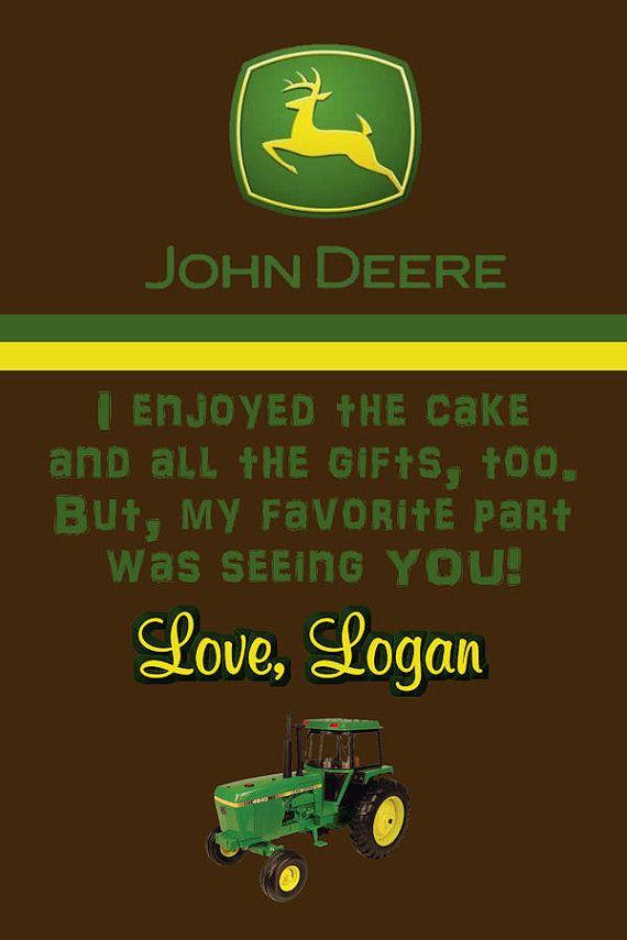 John Deere tractor thank you note
