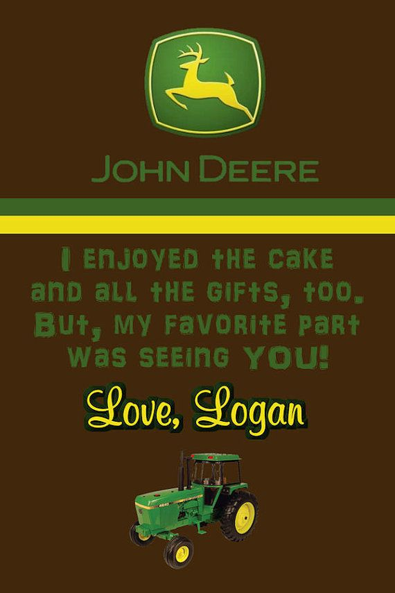 John Deere tractor thank you note