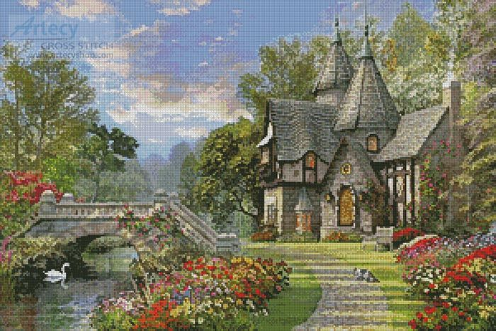 Artecy Cross Stitch. The Old Waterway Cottage Cross Stitch Pattern to print online.
