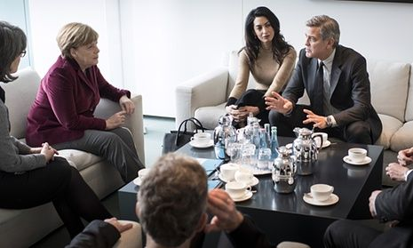 George and Amal Clooney meet Angela Merkel to discuss the Syrian refugee chrisis at the Federal Chancellery in Berlin.