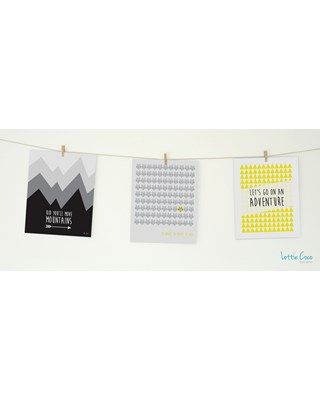 Lottie Coco - Black & Yellow - Kid You'll Move Mountains, Be Brave and Let's Go On An Adventure prints. Print pack for your nursery or childs room. These packs come with string and mini wooden pegs hanging kit. www.lottiecoco.co.nz