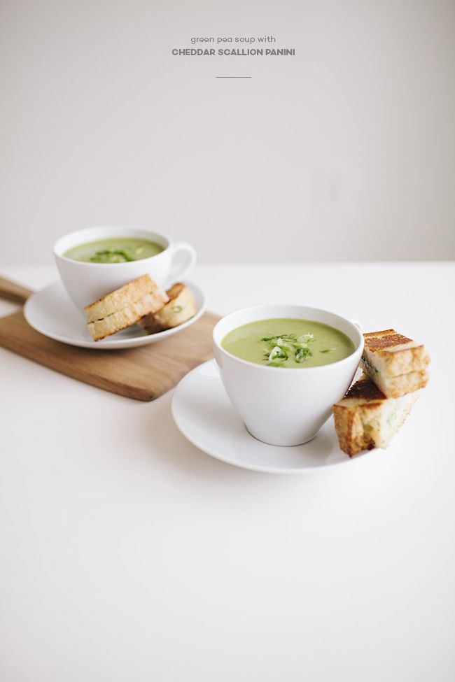 Green Pea Soup with Cheddar Scallion Panini | St. Patrick's Day ...