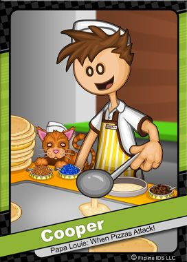 This is Cooper. He works at Papas Pancakeria. He and his pet cat Cookie live in Tastyville. He brings chocolate chip pancakes to his kid brother, Greg,every night.