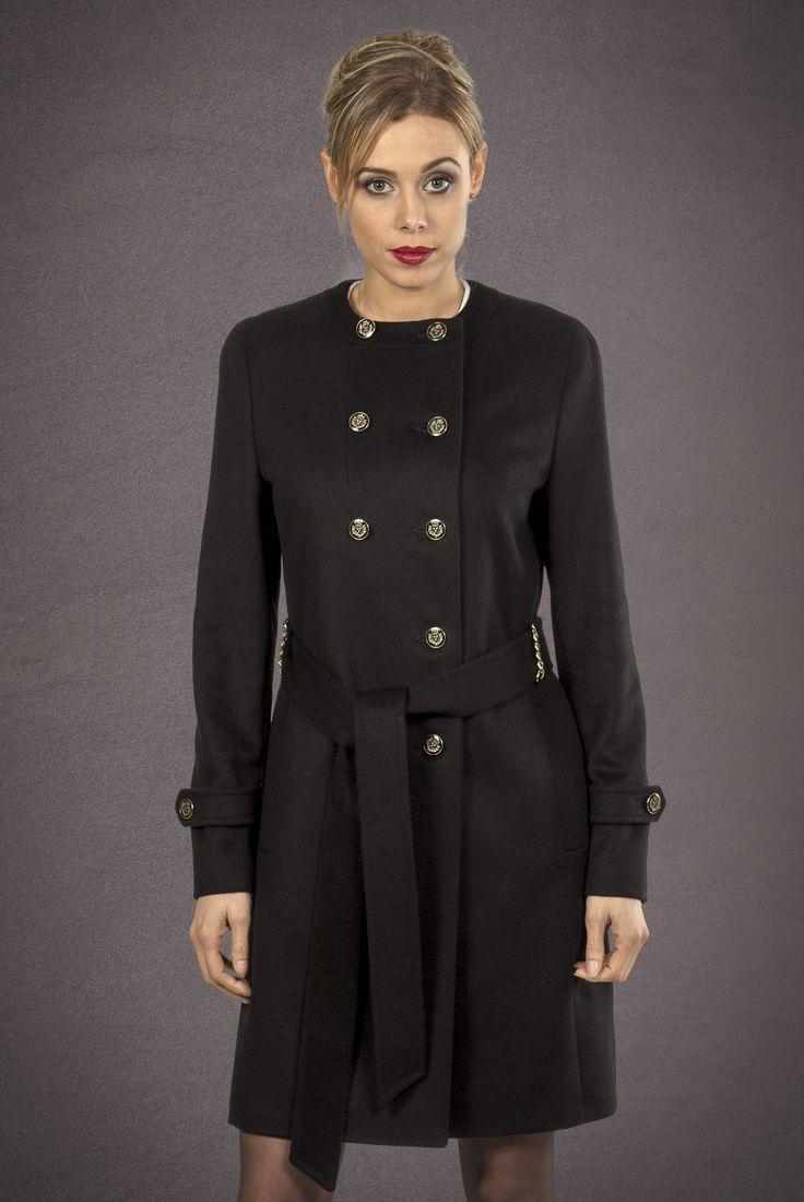 Meldes De Luxe – Manteau laine cintré col rond noir Réf: 389-1-01