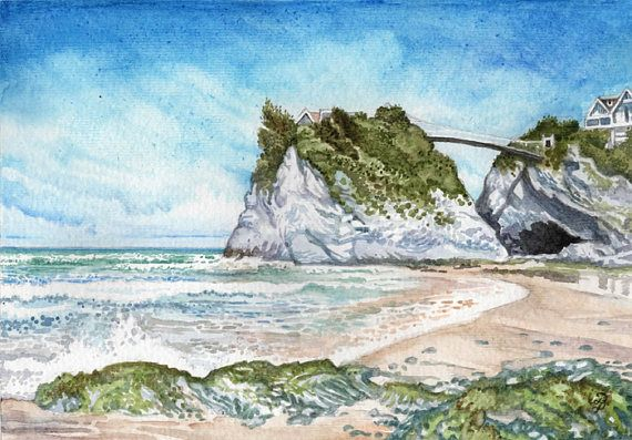 Newquay Beach in watercolor ORIGINAL painting happy English