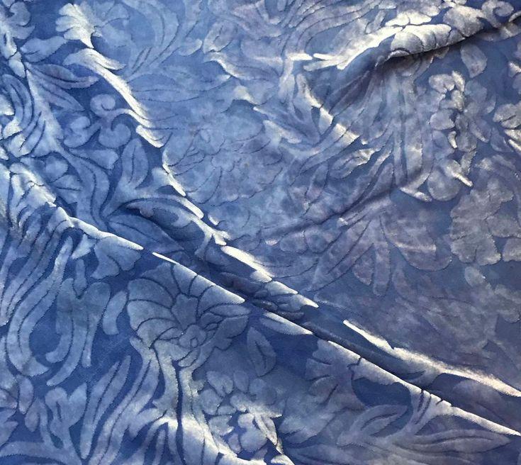 Burnout Silk VELVET Fabric Periwinkle Blue