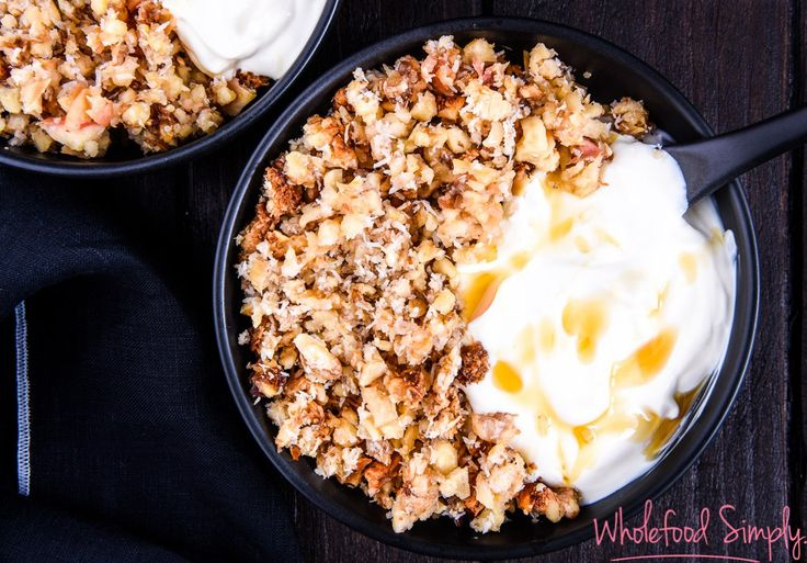 Quick & Easy Apple Crumble.  Simple and delicious!  Free from gluten, grains, dairy, eggs and refined sugar.  Enjoy!