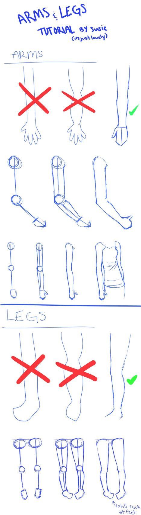 how to draw arms and legs step by step