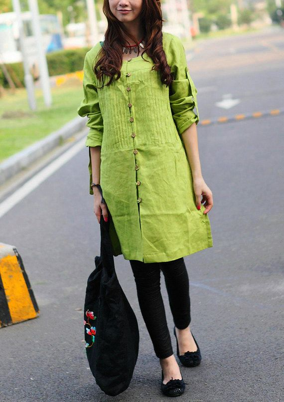 Green Linen Tunic Top - Pleated long tunic shirt - Custom Made wear w palazzo pants