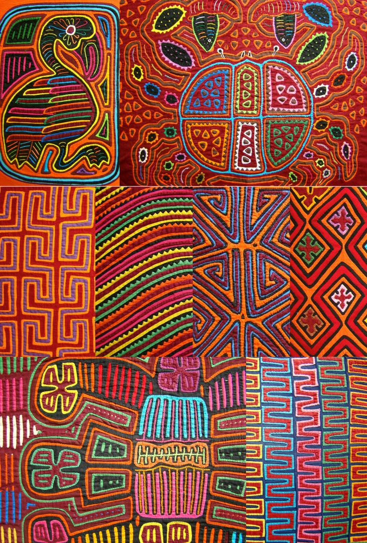 Molas are colorful appliqué panels hand crafted by the Kuna people of the San Blas Islands, Panama.