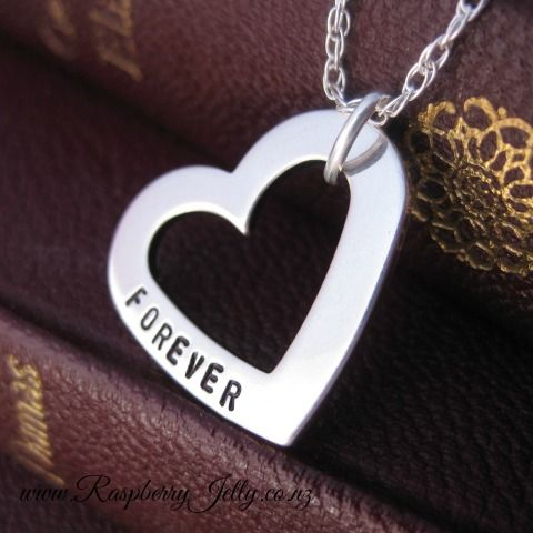 Forever Love is a solid sterling heart, handstamped with the name/s or phrase of your choice. Love that is continuous, with no end.... Forever Love