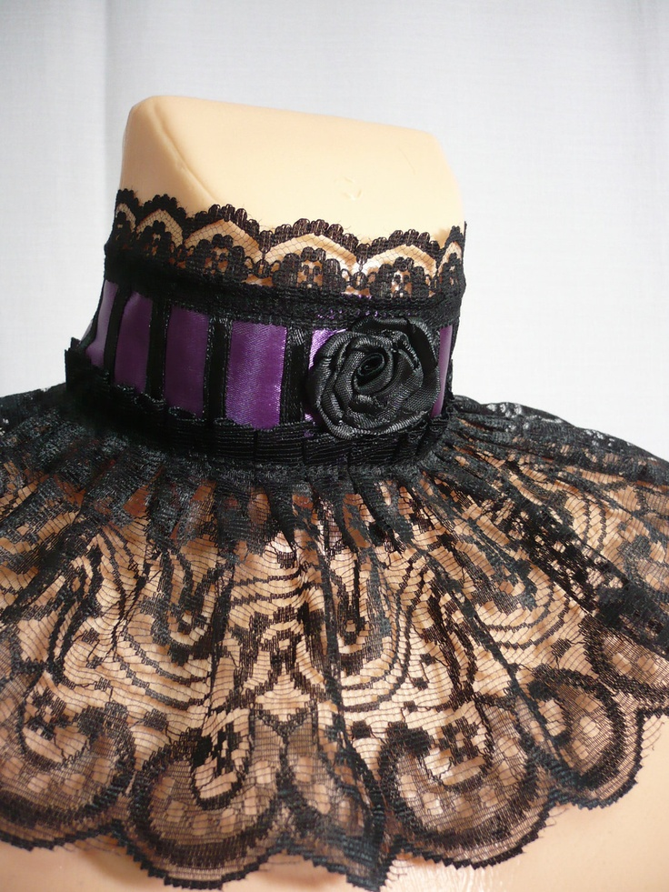Gothic Victorian Collar, Carnival Neck Ruff, Black Purple Steampunk, Ruffled Lace Neck Piece, Noir, Dark Wedding, Corset Tie,Choker. $19.00, via Etsy.
