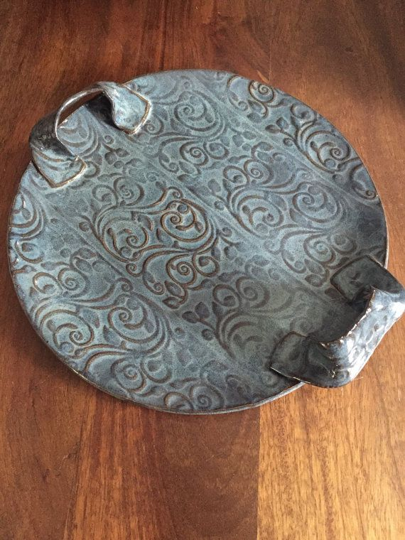 Large handbuilt pottery serving dish by PotteryTherapy on Etsy