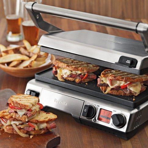 The Only Panini Press You'll Ever Need... It's really three products in one, so when tomorrow comes, and you can't possibly stomach another cheesy concoction, you can use it to make a steak, for example; it works as a panini press, an open grill, and a flat griddle. At $300, it leaves nothing to be desired, with a nonstick, scratch-resistant finish, removable plates, and temperature settings from 320-450 degrees. ... #Cookware #KitchenEquipment #Kitchen #Design #KitchenGadgets