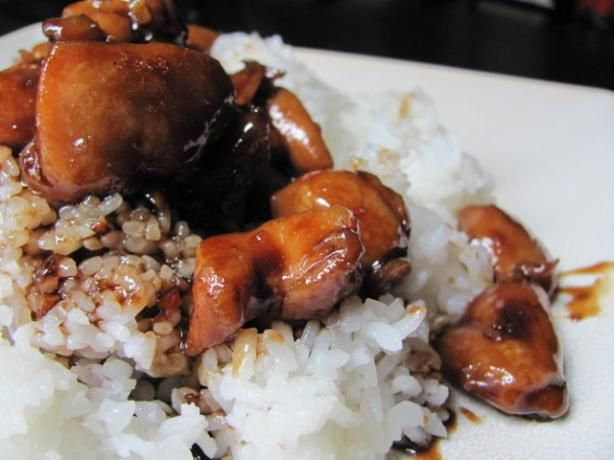 The Best Bourbon Chicken! from Food.com: This is our family favorite!  								This chicken tastes just like the stuff that the food court guys are trying to get you to sample all the time!! Its really easy to prepare if you can get boneless chicken thighs and make sure that you use a good bourbon! Remember--if you wouldn't drink it, do not cook with it!