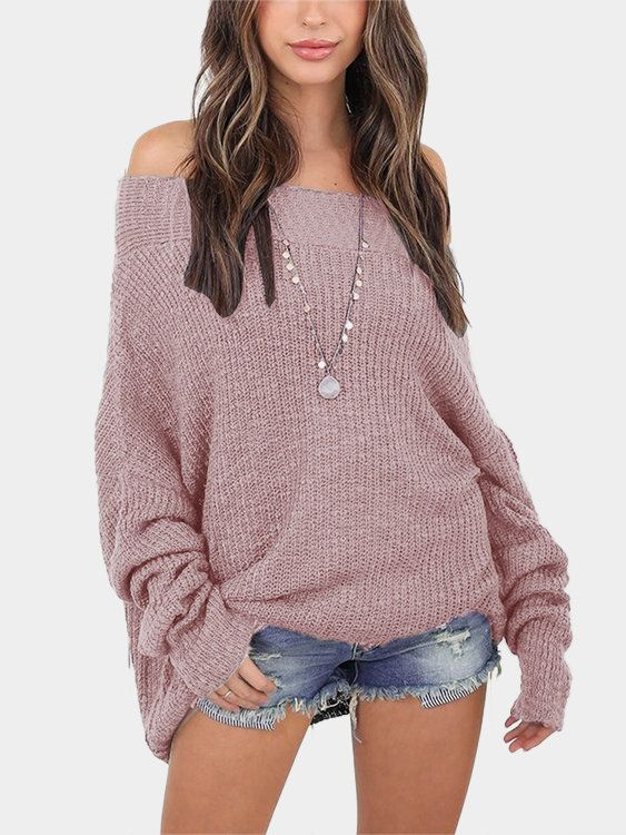 Add some sophistication to your fall vogue with this plain color sexy sweater. It features long sleeves, loose plunge design and off the shoulder which make you more sexy. Match this sweater with your favorite jeans for a classic fall look that everyone will love.Â
